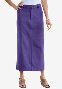 Classic Cotton Denim Long Skirt, MIDNIGHT VIOLET