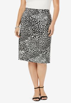 Bi-Stretch Pencil Skirt, BLACK IVORY ANIMAL