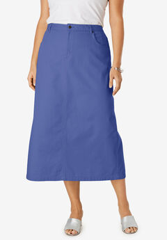 Classic Cotton Denim Long Skirt, ULTRA BLUE