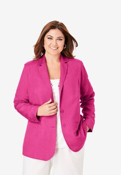 Linen Blazer, TROPICAL RASPBERRY