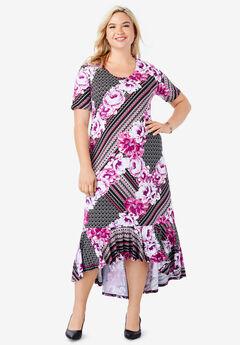 Everyday Knit Flounce Hem Maxi Dress, BERRY SCARF PRINT