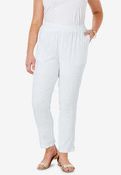 Linen Ankle Pant, WHITE