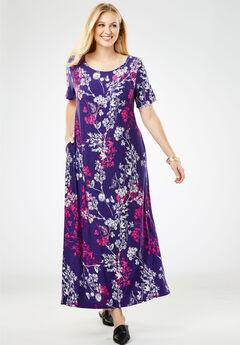 Knit Maxi Dress, DEEP GRAPE MEADOW FLORAL