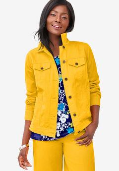 Classic Cotton Denim Jacket, SUNSET YELLOW