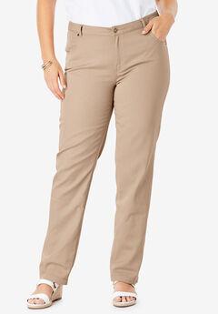 Classic Cotton Denim Straight Jeans, NEW KHAKI