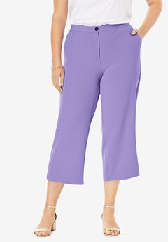 Bi-Stretch Wide Leg Crop Pant, VINTAGE LAVENDER