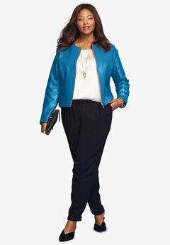 Collarless Leather Jacket, ISLAND BLUE