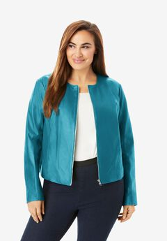Collarless Leather Jacket, DEEP TURQUOISE