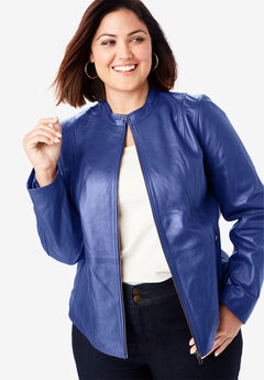 Zip Front Leather Jacket, ULTRA BLUE
