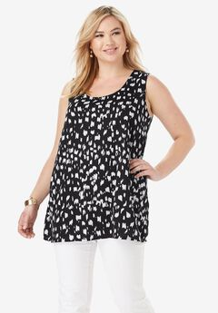 Georgette Tunic Tank, BLACK VERTICAL PAINT BRUSH