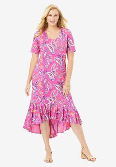 Everyday Knit Flounce Hem Maxi Dress, TROPICAL PLAYFUL PAISLEY