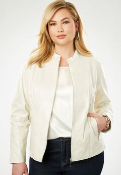 Zip Front Leather Jacket, IVORY