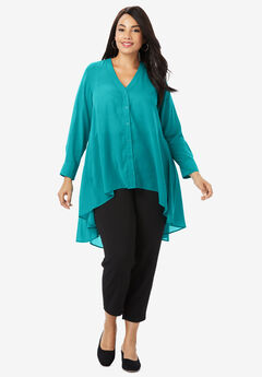 Hi-Low Georgette Tunic, JADE