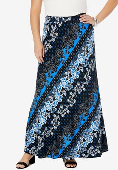 Everyday Knit Maxi Skirt, VIVID BLUE BIAS FLORAL