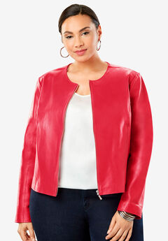 Collarless Leather Jacket, VIVID RED