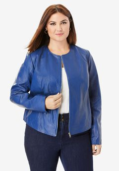 Collarless Leather Jacket, TRUE BLUE