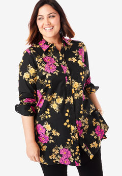Long Sleeve Collared Poplin Tunic, BLACK BOUQUET