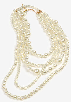 Multi-Layer Beaded Pearl Necklace,