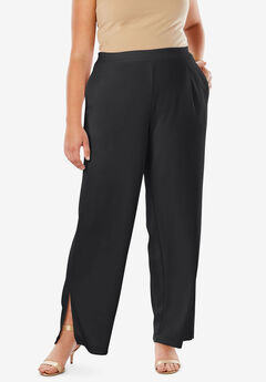 Side Slit Wide-Leg Crepe Pant, BLACK