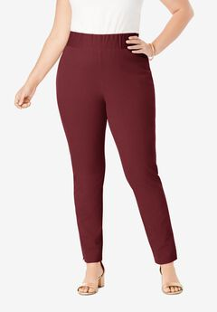 Tummy Control Twill Ankle Pant, MERLOT