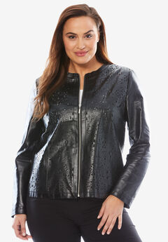 Cutout Leather Jacket,