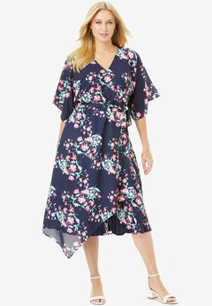 Floral Faux Wrap Midi Dress,