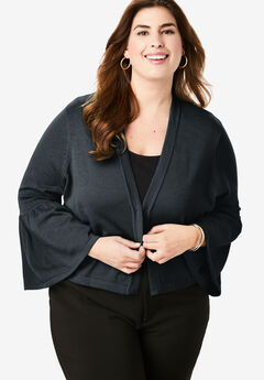 Bell Sleeve Sweater Shrug, BLACK