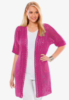 Crochet Long Cardigan, BRIGHT BERRY