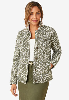 Classic Cotton Denim Jacket, OLIVE GRAPHIC ANIMAL
