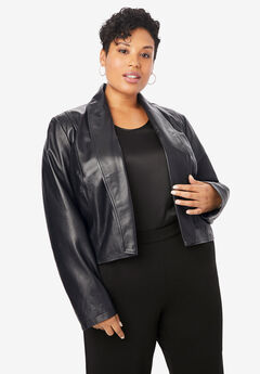 Leather Shrug, BLACK