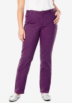 Classic Cotton Denim Straight Jeans, PLUM PURPLE