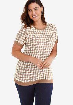 Fine Gauge Crewneck Shell, BROWN MAPLE HOUNDSTOOTH