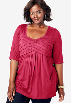 Pleated Tunic, CLASSIC RED