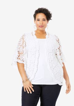 Crochet Cardigan, WHITE