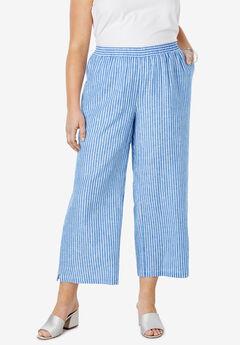 Wide Leg Linen Crop Pant, HORIZON BLUE BENGALS STRIPE