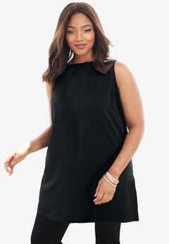 Relaxed Tunic Tank, BLACK