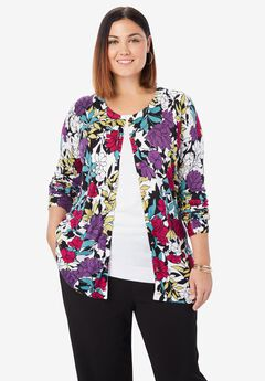 Classic Cardigan Sweater, BLACK GARDEN FLORAL