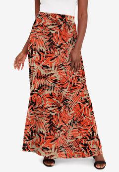 Everyday Knit Maxi Skirt, ELECTRIC ORANGE PALM