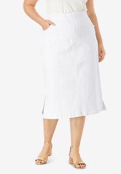 Comfort Waist Midi Skirt, WHITE