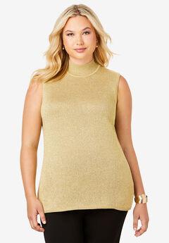 Fine Gauge Mockneck Sweater, GOLD