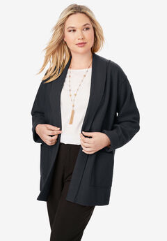 Boiled Wool Shawl Collar Jacket,