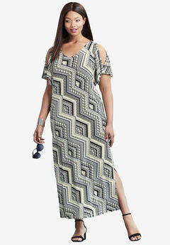Travel Knit Cold Shoulder Maxi Dress,
