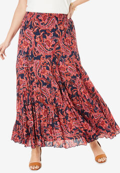 Cotton Crinkled Maxi Skirt, NAVY CLASSIC PAISLEY