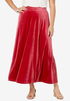 Velour Maxi Skirt, CLASSIC RED
