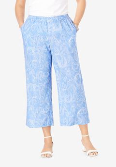 Wide Leg Linen Crop Pant, BLUE DOTTED PAISLEY