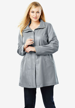 A-Line Zip Front Leather Jacket, GUNMETAL