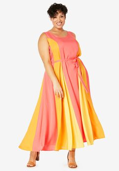 Colorblock Maxi Dress, SUNSET CORAL COLORBLOCK