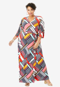 Faux Wrap Maxi Dress, PLAYFUL STRIPE