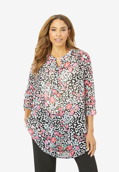 Three-Quarter Sleeve Split Neck Tunic, FLORAL ANIMAL
