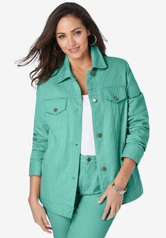 Classic Cotton Denim Jacket, ISLAND AQUA
